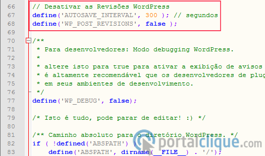 Desativar as Revisões de Posts WordPress