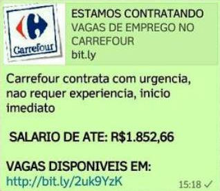 "Photo of Boato: Falsa Vaga de Emprego ""Carrefour contrata com urgência"" rolando no WhatsApp"